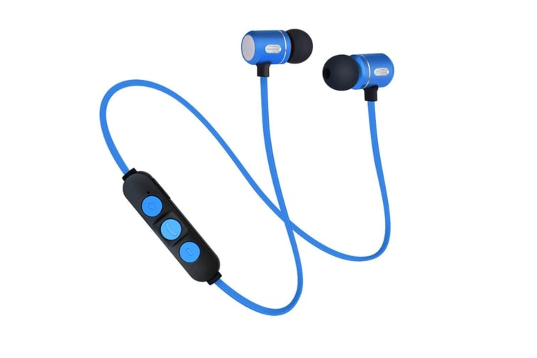 Sports Bluetooth Headset Magnetic Absorption Running Anti-Sweat Earplug - Blue Blue 5Pcs