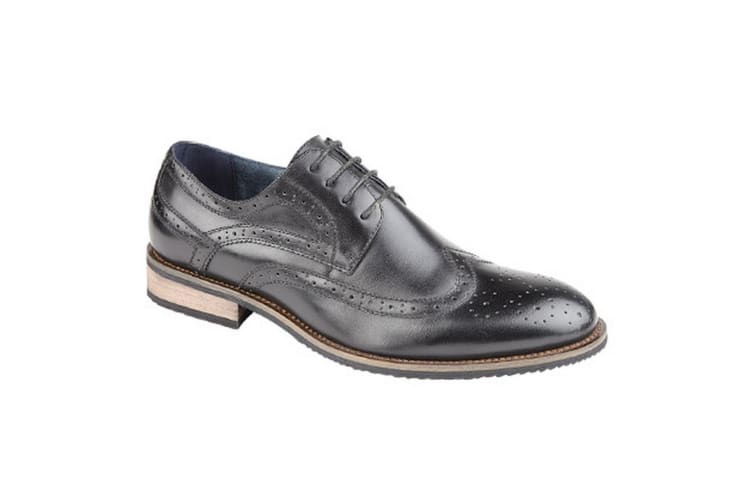 Route 21 Mens 4 Eyelet Brogue Tie Shoes (Black) (11 UK)