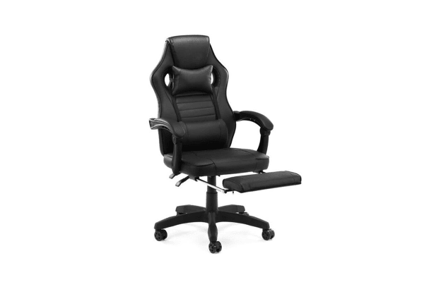 Ergolux RX9 Deluxe Gaming Office Chair with Leg Rest (Black, Racing Series)