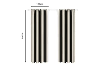 Deluxe Blockout Curtain 3 Layers Eyelet Pure Fabric Room Darkening Single Pannel  -  Beige140x230 cm