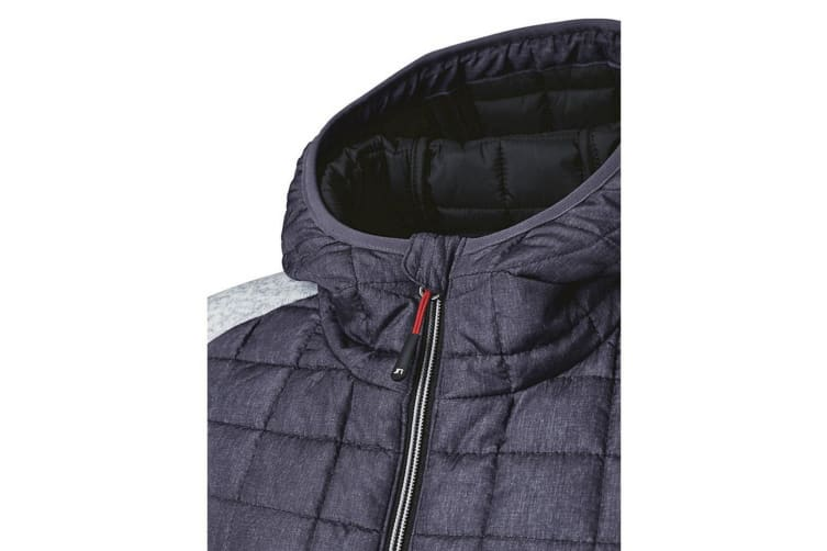 James and Nicholson Mens Knitted Hybrid Jacket (Light Grey Melange/Anthracite Melange) (S)