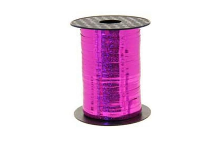 Apac Holographic 250 Metre Curling Ribbon (Cerise) (One Size)