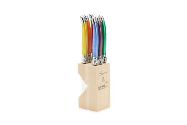 Laguiole by Andre Verdier Debutant Serrated Table Knife 6pc Mixed w/ Knife Block