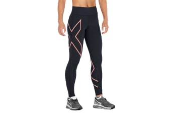 2XU Women's Bonded Mid-Rise Tights (Black/Candlelight Peach, Size XS)