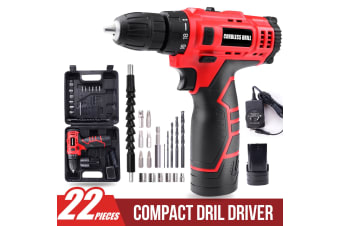 12V Li-Ion Cordless Drill Driver Kit Rechargeable w/ Battery Charger Bits Socket(Two Batteries)