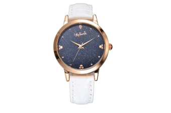 Select Mall Creative Stainless Steel and Leather Casual Quartz Watch Fashion Trend Cute Student Shiny Quartz Watch-White