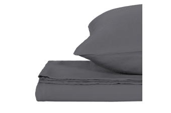 Natural Home Bamboo Quilt Cover Set Single Bed CHARCOAL