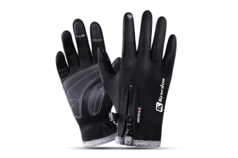 Outdoor Thickened Skiing Cold And Warm Touch Screen Riding Gloves In Winter - Black Black S