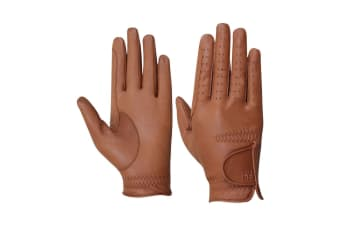 Hy5 Adults Leather Riding Gloves (Light Brown)