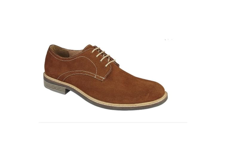 Roamers Mens Derby Suede Leather Laced Shoe (Tan) (10 UK)