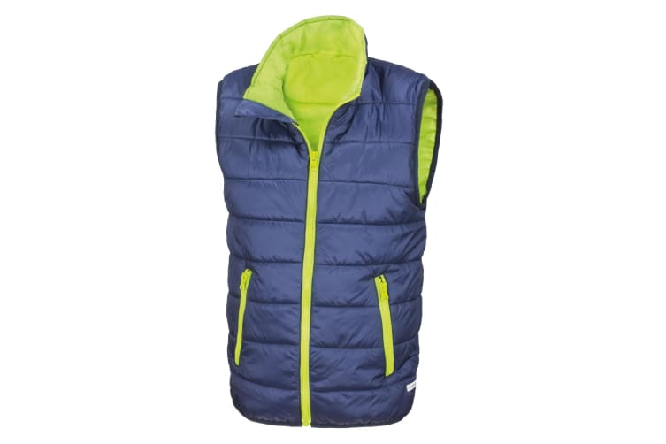 Result Core Childrens/Kids Sleeveless Zip Up Bodywarmer (Navy/Lime) (2XS)