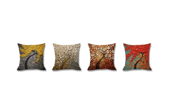 4Pcs Oil Painting Tree Printed Flax Square Pillow Cover Sofa Bed Pillow Cushion Red 45X45Cm