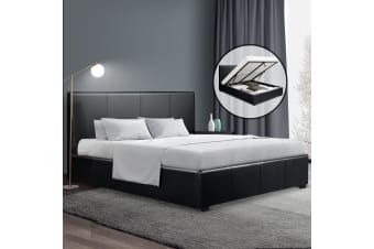 Artiss Double Size Bed Frame Gas Lift PU Leather Wooden Storage Steel Black