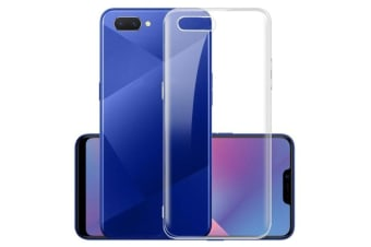 OPPO A3s Ultra Slim Crystal Clear Premium TPU Gel Back Case by MEZON – Shock Absorption, Wireless Charging Compatible – With Screen Protector (A3s, Gel)