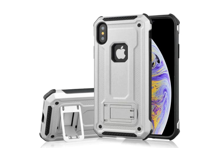 For iPhone XS Max Cover Shockproof Thin Strong Armor Kickstand Phone Case Silver