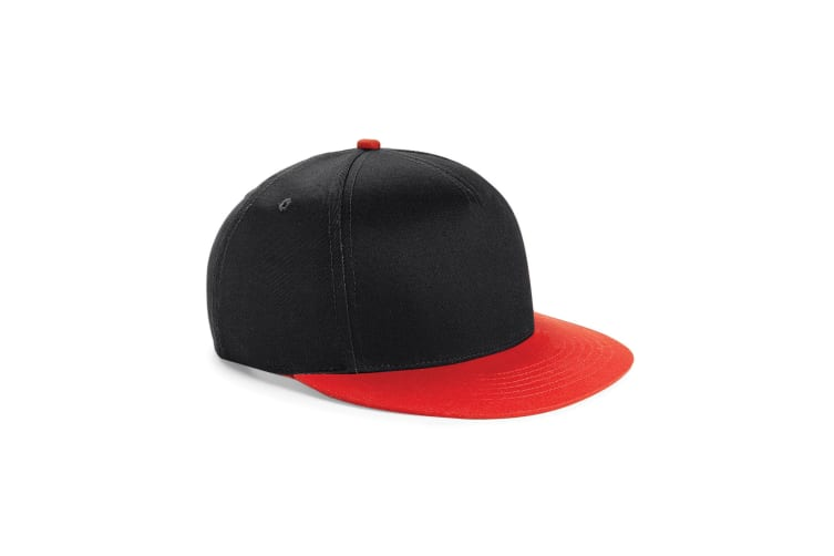 Beechfield Youth Unisex Retro Snapback Cap (Black/ Bright Red) (One Size)