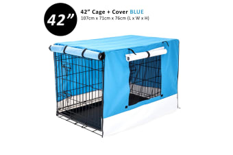 "42"" Foldable Wire Dog Cage with Tray + BLUE Cover"