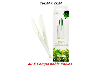 40 x Compostable Knives Made From Corn Eco Environment Friendly Disposable 15CMx2.5CM