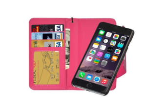 For iPhone 6S PLUS 6 PLUS Wallet Case Separable Horse Leather Cover Magenta