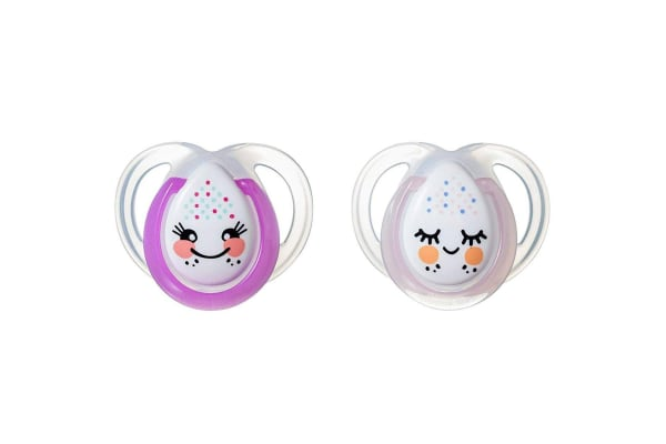 Tommee Tippee Night Soother 2 Pack - Girl - 0 to 6 Months