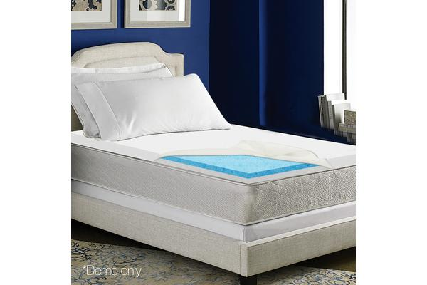 Dick Smith 8cm Dual Layer Cool Gel Memory Foam Topper Single