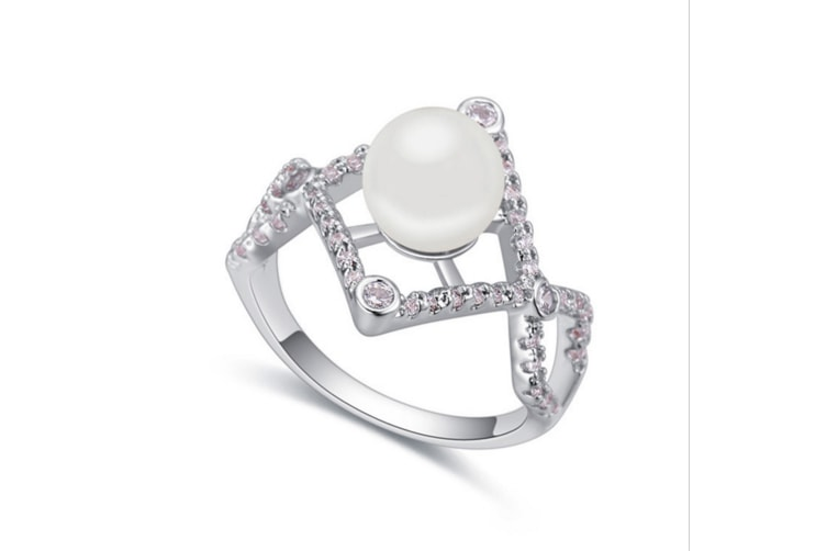 Luxury Crystal Pearl White Gold-Plated Metal Ring White