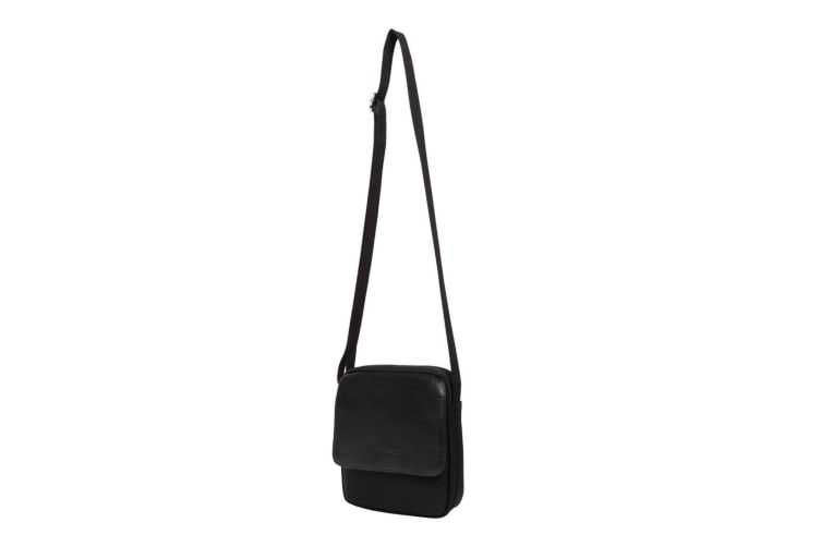 Pierre Cardin Shoulder Bag - Black Italian Leather & Nylon 20x5x17cm