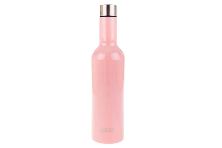 2PK Oasis Stainless Steel 750ml Double Wall Insulated Wine Traveller Bottle Pink