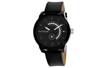 Tommy Hilfiger Men's Classic Watch (Black Dial, Leather Strap)