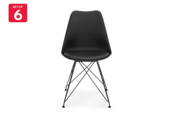 Shangri-La Set of 6 DSR Dining Chairs - Eames Replica (Black/Black)