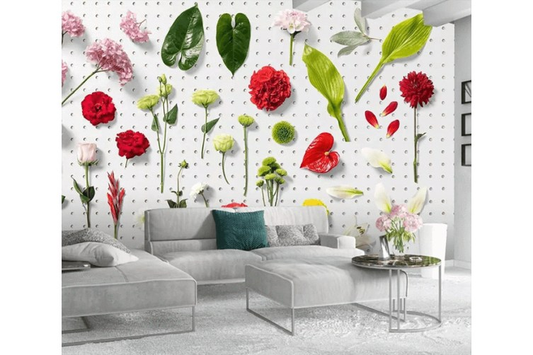 3D Branch Leaves Flowers 1547 Woven paper (need glue), XXL 312cm x 219cm (WxH)(123''x87'')