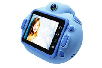 Select Mall 2 Inches IPS HD Screen Toy Camera Cartoon Portable SLR HD Children's Digital Camera for Children Birthday Gift-Blue
