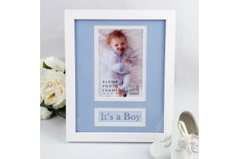 It's a Boy Personalised Photo Frame 4x6 White Wood