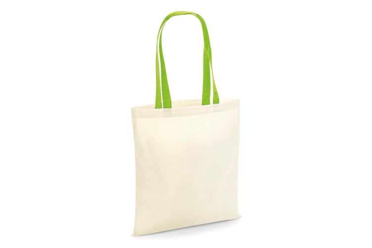 Westford Mill Contrast Handle Bag For Life (Natural/Lime Green) (One Size)