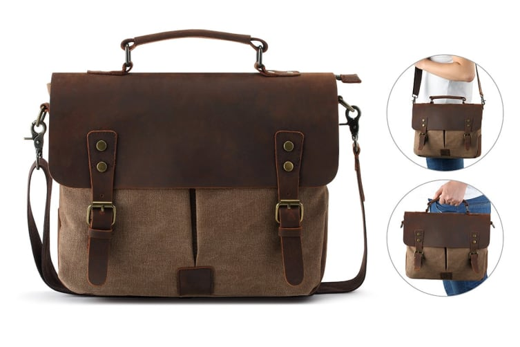 Leather Canvas Messenger Bag (Coffee)