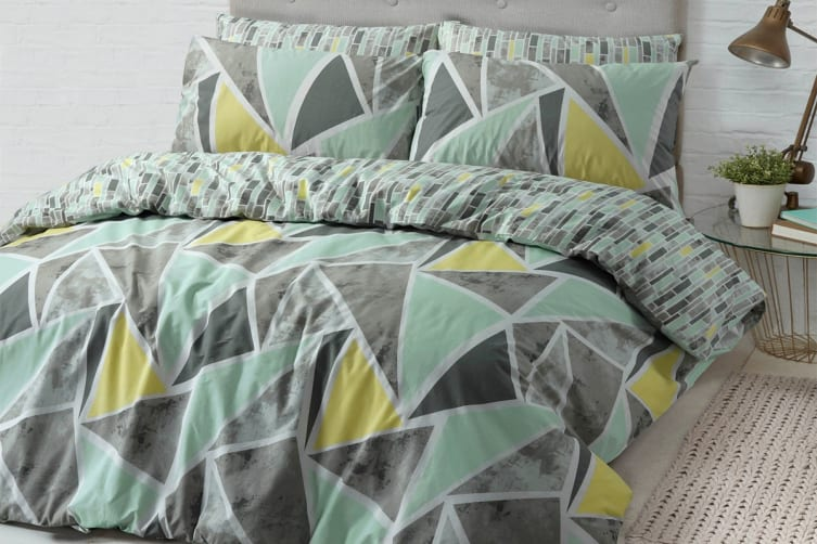 Style & Co 100 % Cotton Reversible Quilt Cover Set (Queen, Geo Triangle)