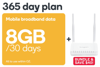 Kogan Mobile Broadband Bundle: 4G Modem Router & 365 Day DATA S Voucher Code (8GB Per 30 Days)