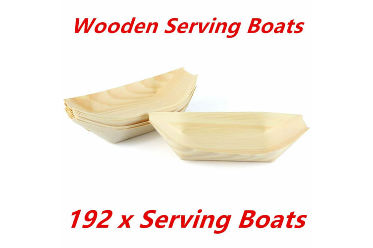 192 x Boat Eco Plate Bamboo Bowls Biowood Serving Dish Wooden Tray Plate Party 18x10cm