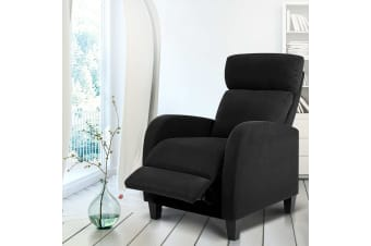 Artiss Recliner Chair Luxury Lounge Sofa Foam Padded Fabric Armchair Couch Black