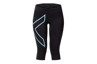 2XU Women's 3/4 Compression Tights G1 (Black/Baby Blue, Size S)