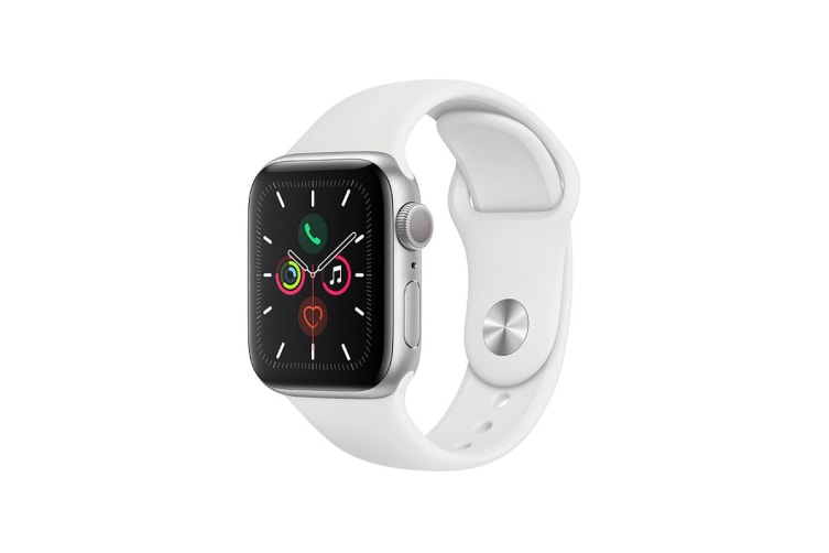 Apple Watch Series 5 (Silver Aluminum, 40mm, White Sport Band, GPS Only)