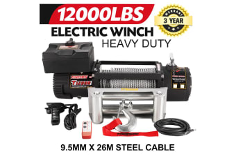 TUNGSTEN 12000LBS Electric Winch12V Steel WireRope Remote 4WD ATV BOAT TRUCK