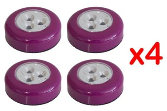 3 Led Battery Powered Touch Push Led Lamp Adhesive Back Mount [Pack Of 4]