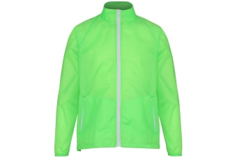 2786 Mens Contrast Lightweight Windcheater Shower Proof Jacket (Lime/ White) (S)