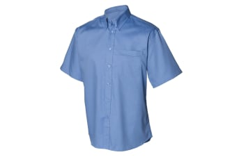 Henbury Mens Short Sleeve Oxford Work Shirt (Corporate Blue) (18)
