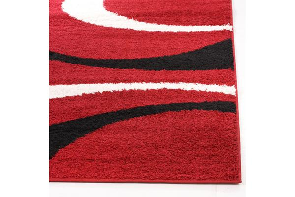 Urban Curves Shag Rug Red Black 150x80cm