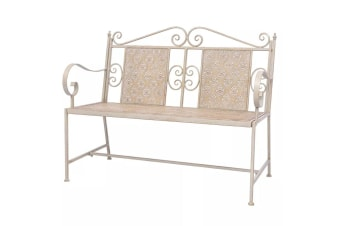 vidaXL Garden Bench 115 cm Steel White