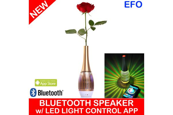 Bluetooth Rechargeable Speaker Vase Led Light Control App Android Handsfree Gold