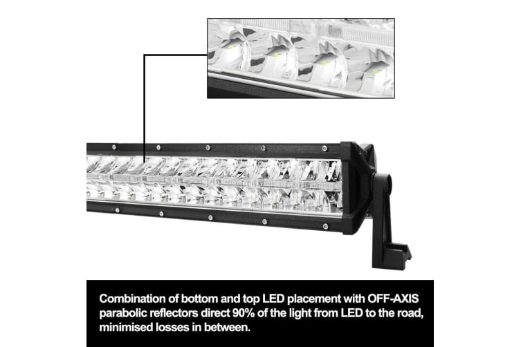 LIGHTFOX 22inch Cree LED Light Bar Dual Row Off-Axis Reflectors Driving Lamp Offroad 4x4