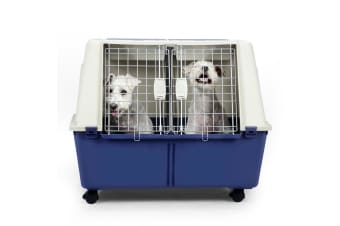 Pet Carrier Dog Cat Travel Crate Plastic Kennel W/Double Wire Doors